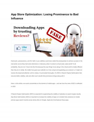 App Store Optimization: Losing Prominence to Bad Influence - Read on ipad, iphone, smart phone and tablets.