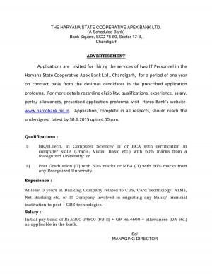 Haryana State Cooperative Apex Bank Ltd invited applications from eligible MBA Graduates