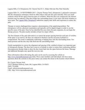 Laguna Hills, CA Chiropractor, Dr. Clayton Noel D. C, Helps Alleviate Disc Pain Naturally