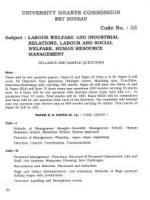 UGC NET / JRF Syllabus for Labour Welfare And Industrial Relations (55)