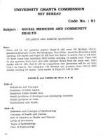 UGC NET / JRF Syllabus for Social Medicine And Community  (81)