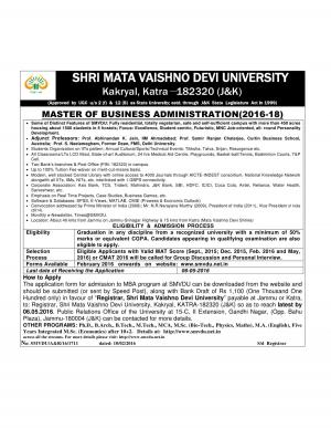 SMVD University Notified Admission in Master of Business Administration Course 2016-18