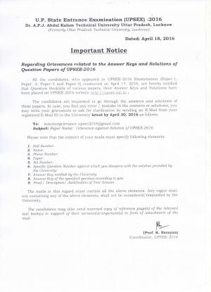 UPSEE 2016: Notice regarding grievances related to the Answer Keys and Solution of Question Paper - Read on ipad, iphone, smart phone and tablets.