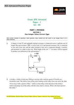 JEE Advanced Practice Paper Set III - Read on ipad, iphone, smart phone and tablets.