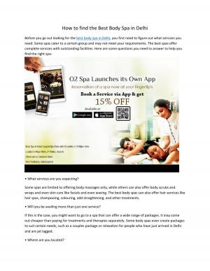 How to find the Best Body Spa in Delhi - Read on ipad, iphone, smart phone and tablets.