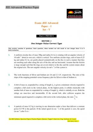 JEE Advanced Practice Paper Set V - Read on ipad, iphone, smart phone and tablets.