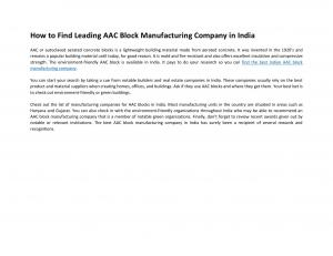 How to Find Leading AAC Block Manufacturing Company in India - Read on ipad, iphone, smart phone and tablets.