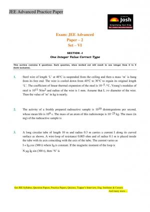 JEE Advanced Practice Paper Set VI - Read on ipad, iphone, smart phone and tablets.