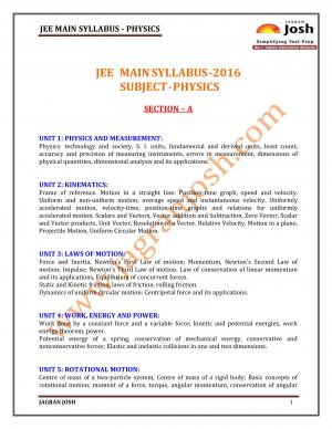 JEE MAIN-2016 Syllabus-Physics