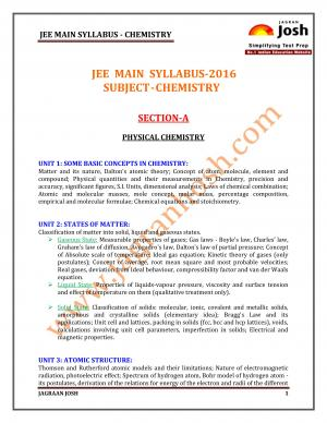 JEE MAIN-2016 Syllabus-Chemistry - Read on ipad, iphone, smart phone and tablets.