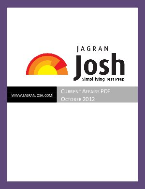 Josh Magazine Current Affairs Magazine October 2012 - Read on ipad, iphone, smart phone and tablets.