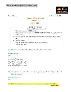 JEE Advanced Solved Practice Paper Set VIII - Read on ipad, iphone, smart phone and tablets.