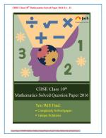 CBSE Class 10th Mathematics Solved Question Paper 2016 SA- II (All India, Set - III) eBook