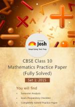 CBSE Class 10th Solved Mathematics Practice Paper 2015 Set-I
