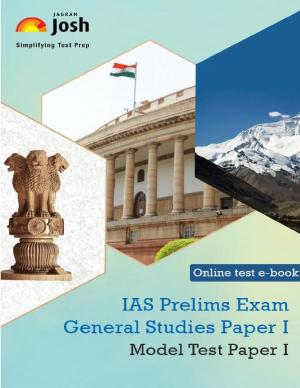 IAS Prelims Exam 2015 General Studies Paper I Model Test Paper I Online Test eBook - Read on ipad, iphone, smart phone and tablets