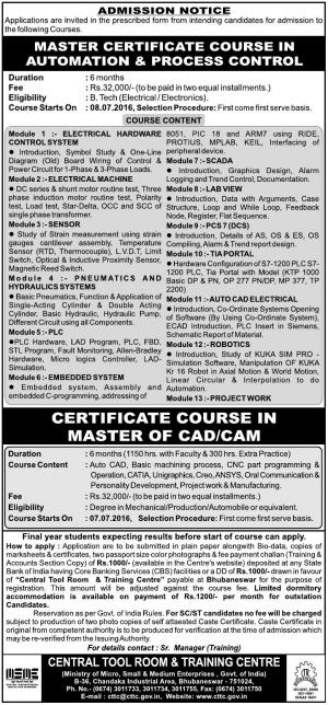 CTTC Admission 2016 for Certificate Courses, Apply before 02 July