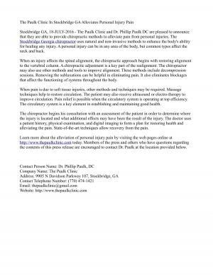 The Paulk Clinic In Stockbridge GA Alleviates Personal Injury Pain