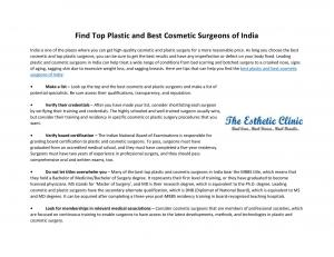 Find Top Plastic and Best Cosmetic Surgeons of India - Read on ipad, iphone, smart phone and tablets.