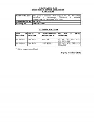 UPSC Announced Interview Schedule for Lecturer (Chemistry) Posts - Read on ipad, iphone, smart phone and tablets.