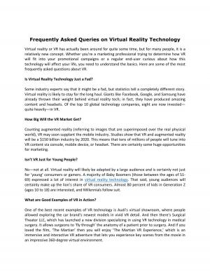 Frequently Asked Queries on Virtual Reality Technology - Read on ipad, iphone, smart phone and tablets.