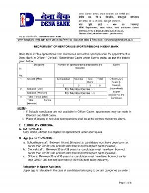 Dena Bank Recruitment 2016 for 15 Sportspersons, Apply before 20 September - Read on ipad, iphone, smart phone and tablets.