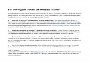 Best Trichologist in Mumbai: Get Immediate Treatment - Read on ipad, iphone, smart phone and tablets.