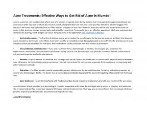 Acne Treatments: Effective Ways to Get Rid of Acne in Mumbai - Read on ipad, iphone, smart phone and tablets.