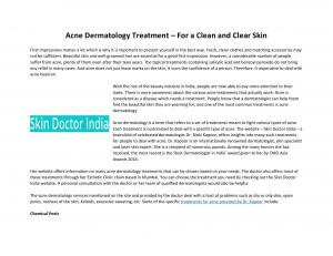 Acne Dermatology Treatment – For a Clean and Clear Skin - Read on ipad, iphone, smart phone and tablets.