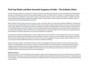 Find Top Plastic and Best Cosmetic Surgeons of India – The Esthetic Clinics - Read on ipad, iphone, smart phone and tablets.