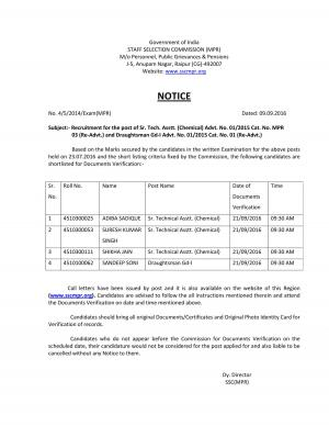 SSC-MPR Issued Doc. Verification Schedule for Sr. Tech. Asstt.  & Draughtsman Gd-I Posts  - Read on ipad, iphone, smart phone and tablets.