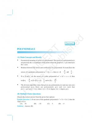 NCERT Exemplar Questions & Solutions: CBSE Class 10 Mathematics: Chapter 2 – Polynomials - Read on ipad, iphone, smart phone and tablets.