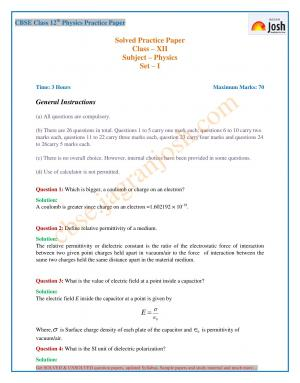 CBSE Class 12 Physics Practice Paper: Set – XI - Read on ipad, iphone, smart phone and tablets.