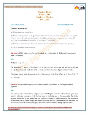 CBSE Class 12 Physics Solved Practice Paper: Set – XII - Read on ipad, iphone, smart phone and tablets.