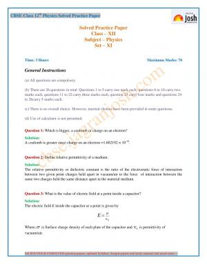 CBSE Class 12 Physics Practice Paper Set – XI New - Read on ipad, iphone, smart phone and tablets.