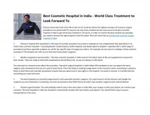 Best Cosmetic Hospital in India - World Class Treatment to Look Forward To - Read on ipad, iphone, smart phone and tablets.