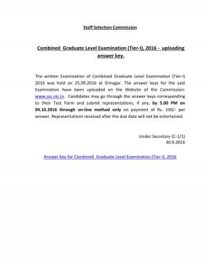 SSC CGL Exam 2016 Answer Keys released for Srinagar candidates, Details at ssc.nic.in - Read on ipad, iphone, smart phone and tablets.
