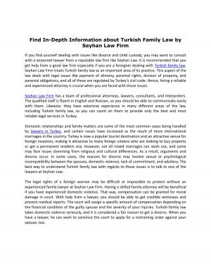 Find In-Depth Information about Turkish Family Law by Seyhan Law Firm - Read on ipad, iphone, smart phone and tablets.