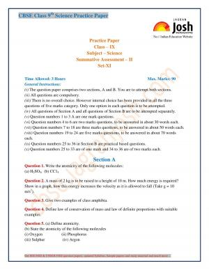CBSE Class 9 Science Practice Paper SA-II Set-XI - Read on ipad, iphone, smart phone and tablets.