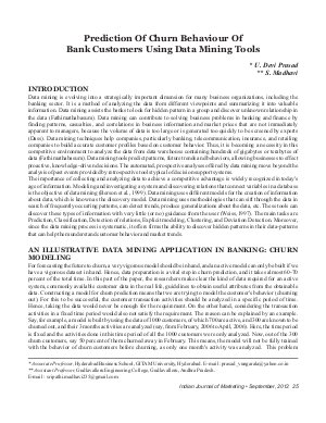 IJM-Sep12-Article4-Prediction Of Churn Behaviour Of Bank Customers Using Data Mining Tools