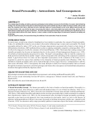IJM-Oct12-Article2-Brand Personality: Antecedents And Consequences - Read on ipad, iphone, smart phone and tablets.