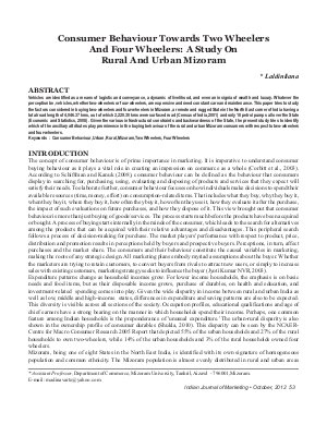 IJM-Oct12-Article6-Consumer Behaviour Towards Two Wheelers And Four Wheelers: A Study On Rural And Urban Mizoram
