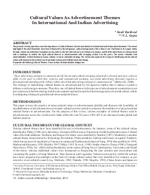 IJM-Nov12-Article2-Cultural Values As Advertisement Themes In International And Indian Advertising