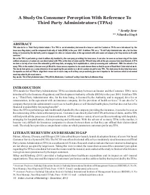 IJM-Dec12-Article2-A Study On Consumer Perception With Reference To Third Party Administrators (TPAs) - Read on ipad, iphone, smart phone and tablets.