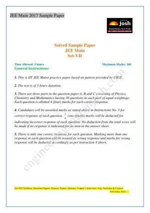 JEE Main Solved Sample Paper Set-VII - Read on ipad, iphone, smart phone and tablets.