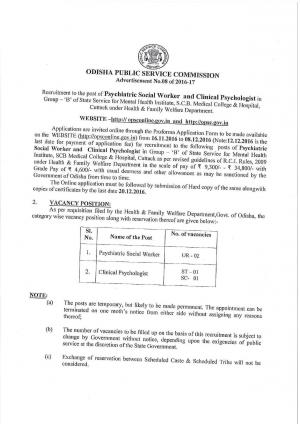 OPSC Recruitment 2016 for 04 Psychiatric Social Worker & Clinical Psychologist Posts  - Read on ipad, iphone, smart phone and tablets.