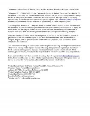 Tallahassee Chiropractors, Dr. Dennis Fiorini And Dr. Atkinson, Help Auto Accident Pain Sufferers
