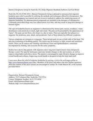 Batson Chiropractic Group In Nashville TN, Helps Migraine Headache Sufferers Get Fast Relief