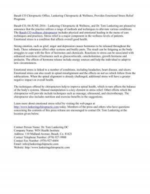 Basalt CO Chiropractic Office, Lankering Chiropractic & Wellness, Provides Emotional Stress Relief Programs