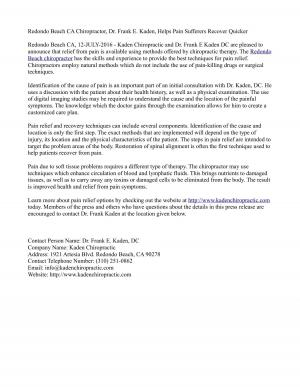 Redondo Beach CA Chiropractor, Dr. Frank E. Kaden, Helps Pain Sufferers Recover Quicker