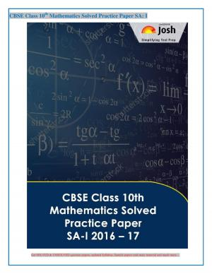 CBSE Class 10th Mathematics Solved Practice Paper SA- I : 2016 -17 eBook